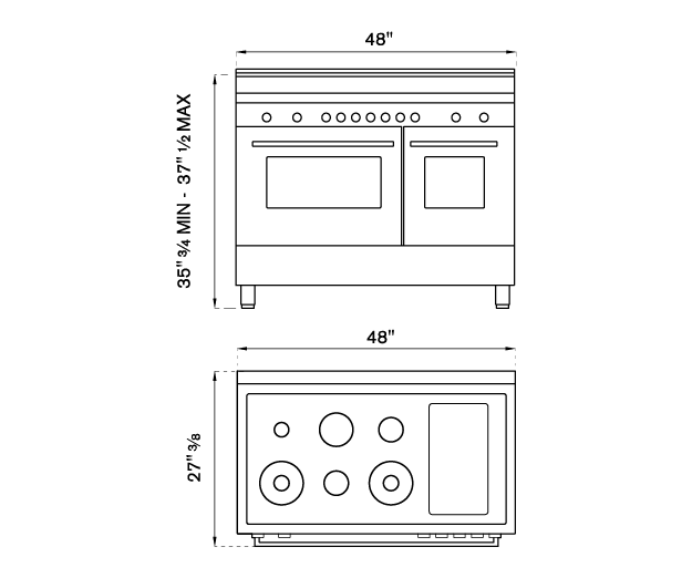 48 inch  Dual Fuel Range, 6 Brass Burners and Griddle ,  Electric Self Clean Oven | Bertazzoni