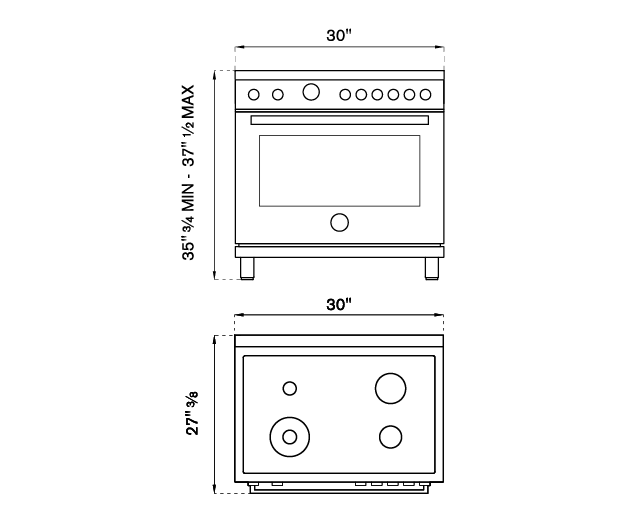 30 inch Dual Fuel Range, 4 Brass Burner, Electric Self-Clean Oven | Bertazzoni