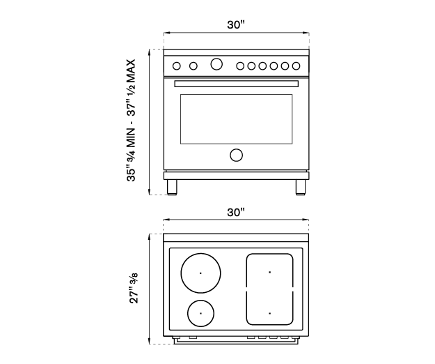 30 inch Induction Range, 4 Heating Zones, Electric Self-Clean Oven | Bertazzoni