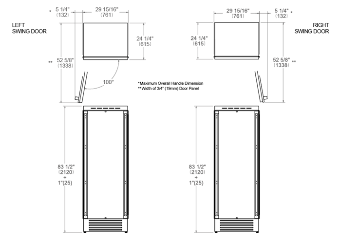 30 Built-in Refrigerator Column Panel Ready | Bertazzoni