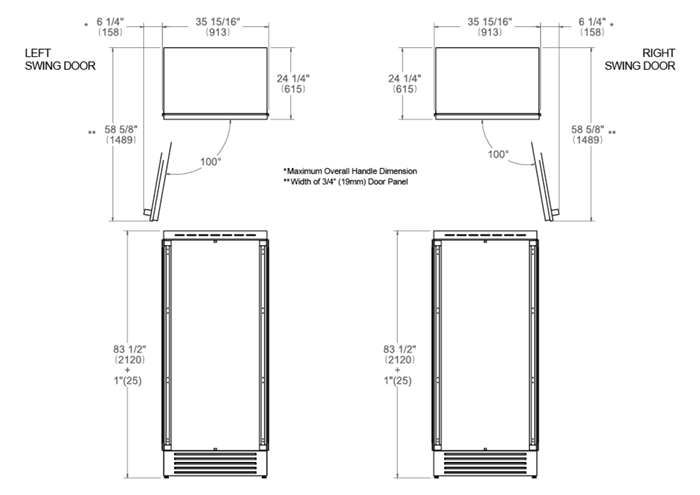 36 Built-in Refrigerator Column Panel Ready | Bertazzoni