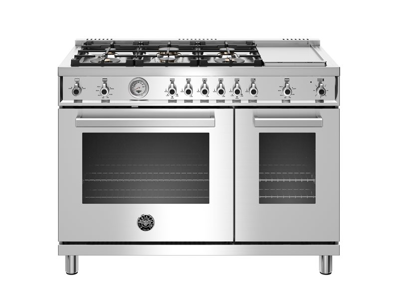 48 inch 6-Burner + Griddle, Gas Double Oven | Bertazzoni - Stainless