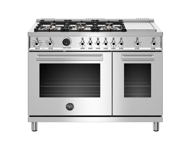 48 inch  Dual Fuel Range, 6 Brass Burners and Griddle ,  Electric Self Clean Oven | Bertazzoni - Stainless