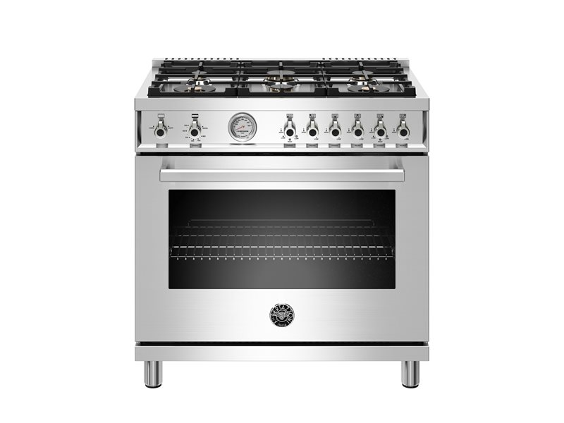 36 inch All Gas Range, 6 Brass Burners | Bertazzoni - Stainless Steel