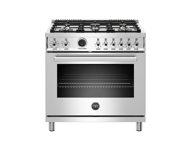 36 inch Dual Fuel Range, 6 Brass Burner, Electric Self-Clean Oven | Bertazzoni - Stainless Steel