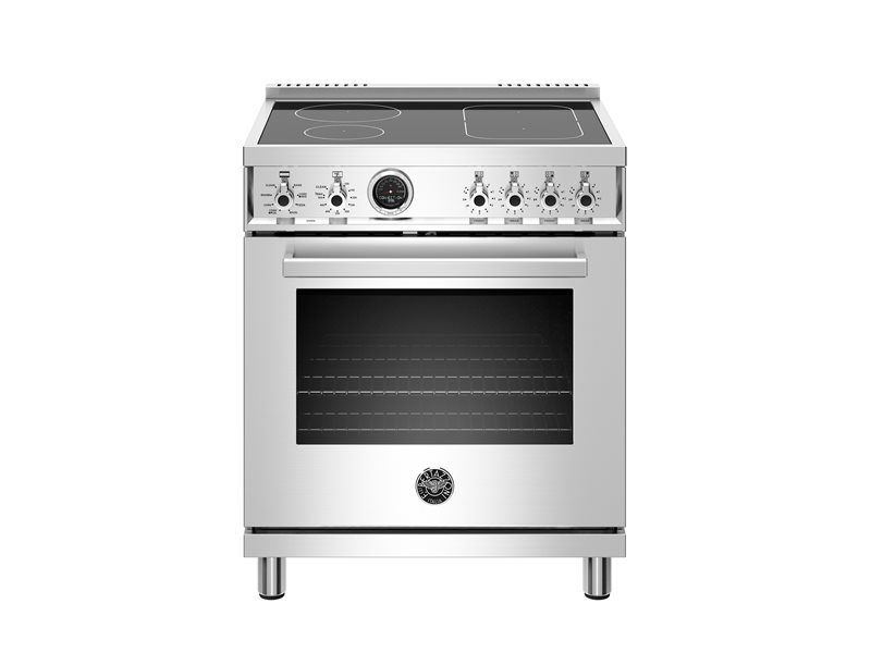 30 inch Induction Range, 4 Heating Zones, Electric Self-Clean Oven | Bertazzoni - Stainless Steel