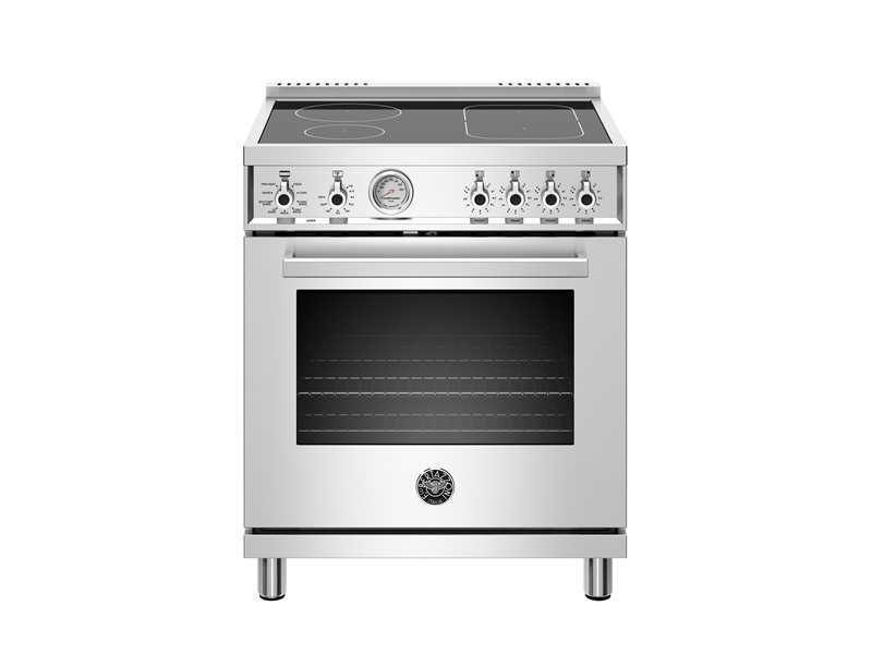 30 inch Induction Range, 4 Heating Zones, Electric Oven | Bertazzoni - Stainless