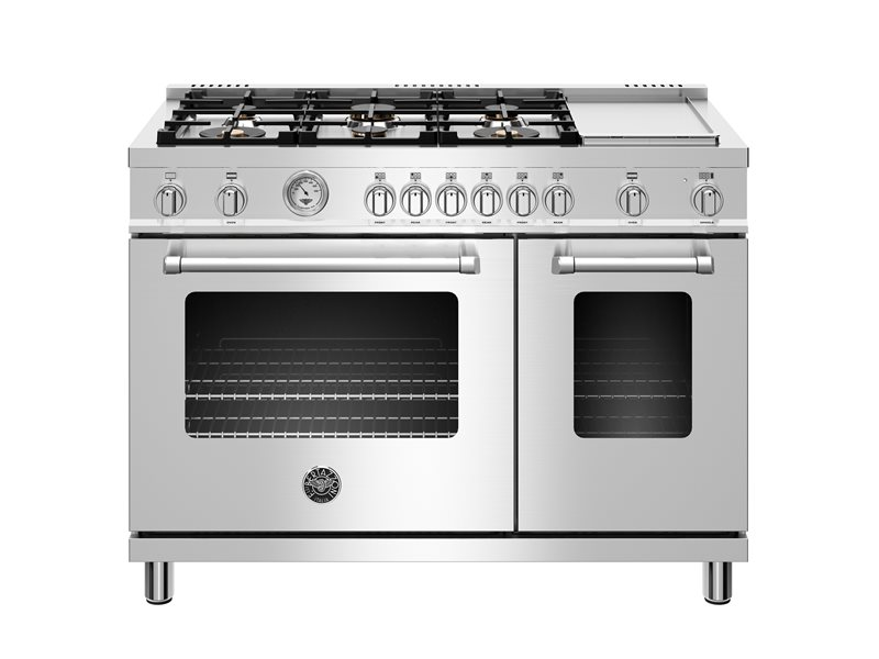 48 inch All Gas Range, 6 Brass Burner and Griddle | Bertazzoni - Stainless Steel