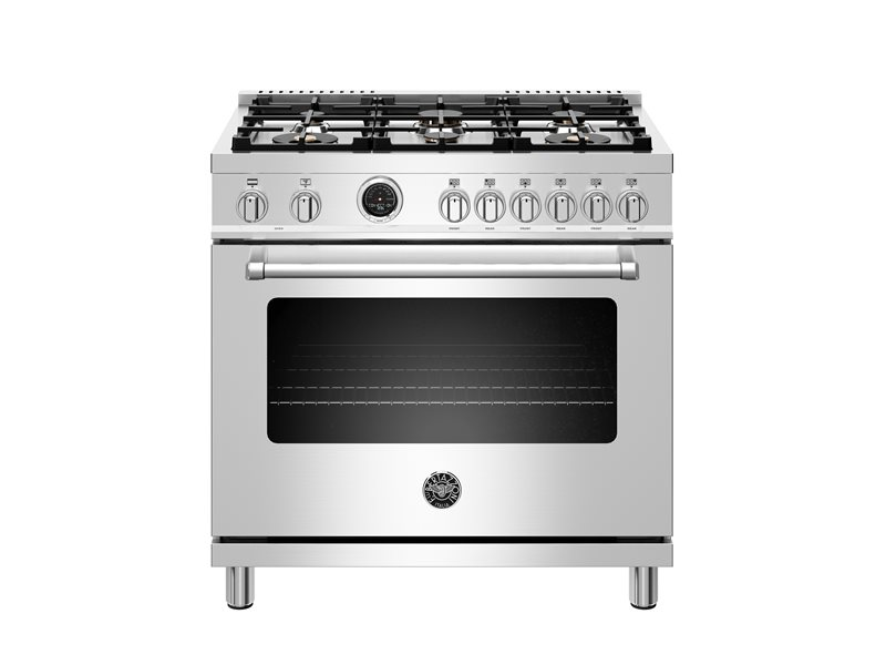 36 inch Dual Fuel Range, 6 Brass Burners, Electric Self-Clean Oven | Bertazzoni - Stainless Steel