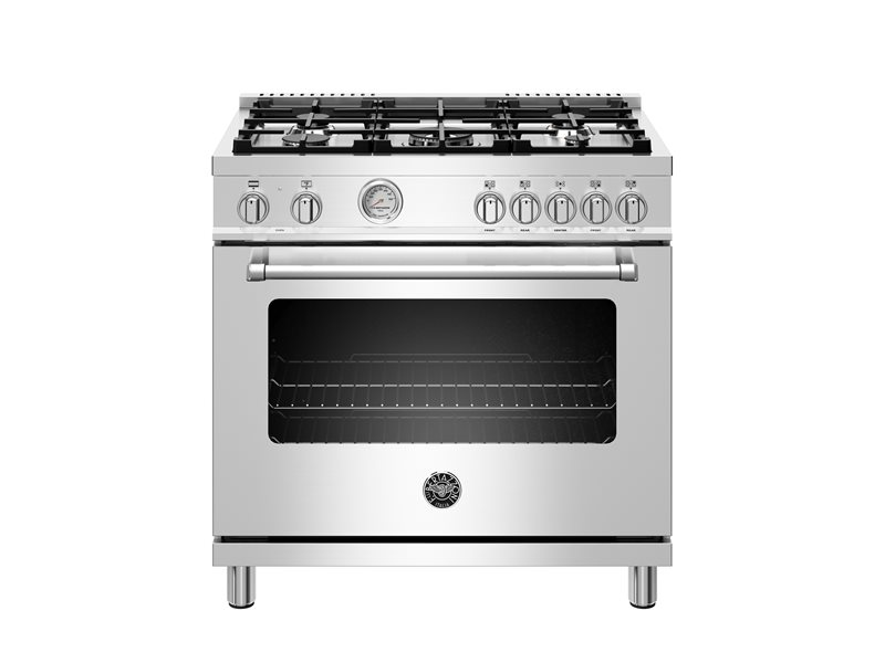 36 inch Dual Fuel Range, 5 Burner, Electric Oven | Bertazzoni - Stainless Steel