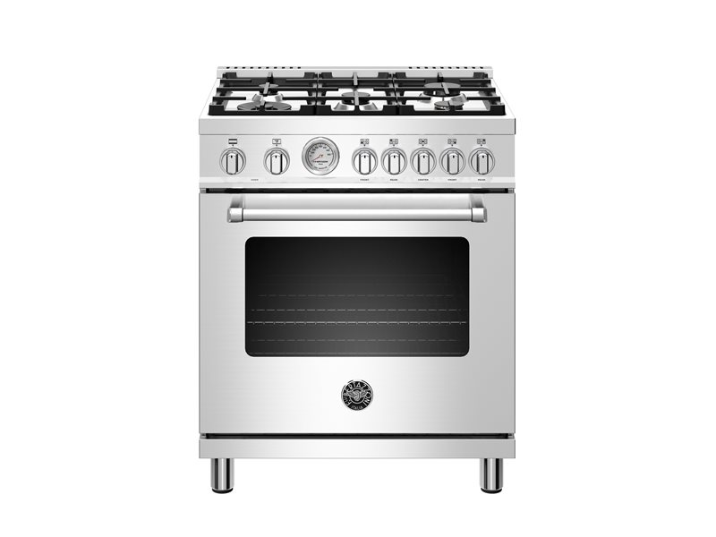 30 inch Dual Fuel, 5 Burners, Electric Oven | Bertazzoni - Stainless Steel