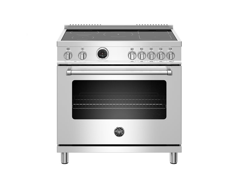 36 inch Induction Range, 5 Heating Zones, Electric Self-Clean Oven | Bertazzoni - Stainless Steel