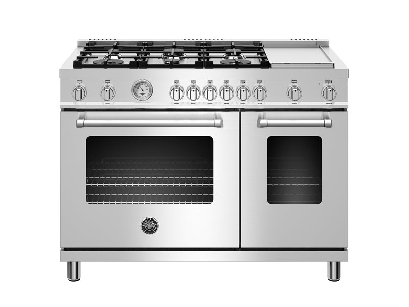 48 inch All Gas Range, 6 Burner and Griddle | Bertazzoni - Stainless Steel