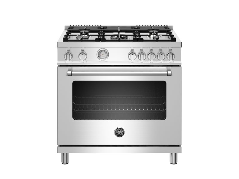 36 inch All Gas Range, 5 Burners | Bertazzoni - Stainless Steel