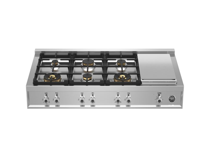 48 Gas Rangetop 6 brass burner + electric griddle | Bertazzoni - Stainless Steel