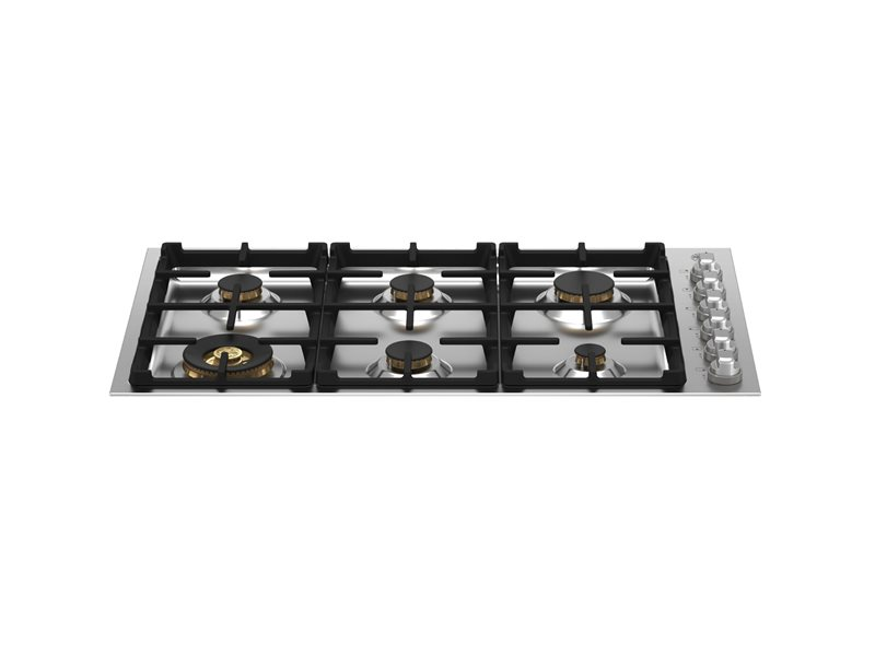 36 Drop-in Gas Cooktop 6 brass burners | Bertazzoni - Stainless Steel