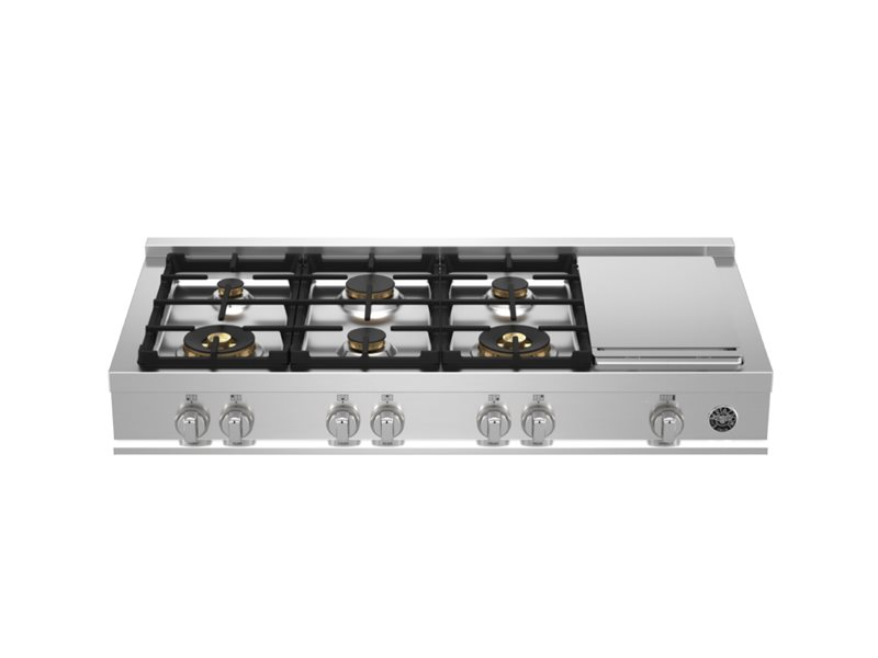 48 Gas Rangetop 6 brass burners + electric griddle | Bertazzoni - Stainless Steel