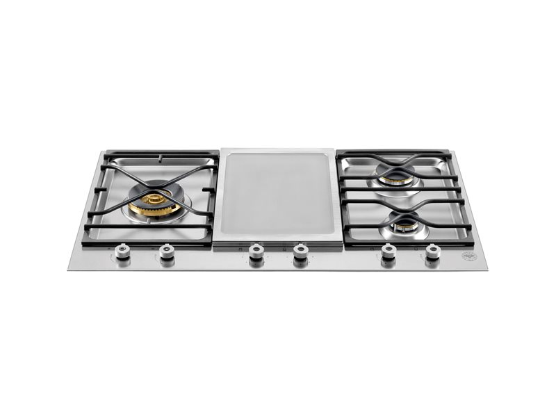 36 Segmented cooktop 3-burner and griddle | Bertazzoni - Stainless Steel