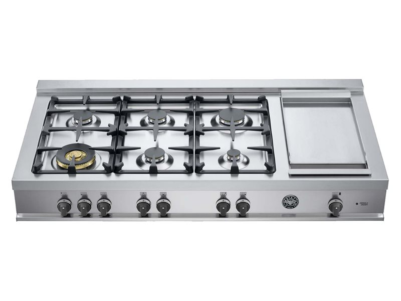 48 Rangetop 6 Burners and Griddle | Bertazzoni - Stainless Steel
