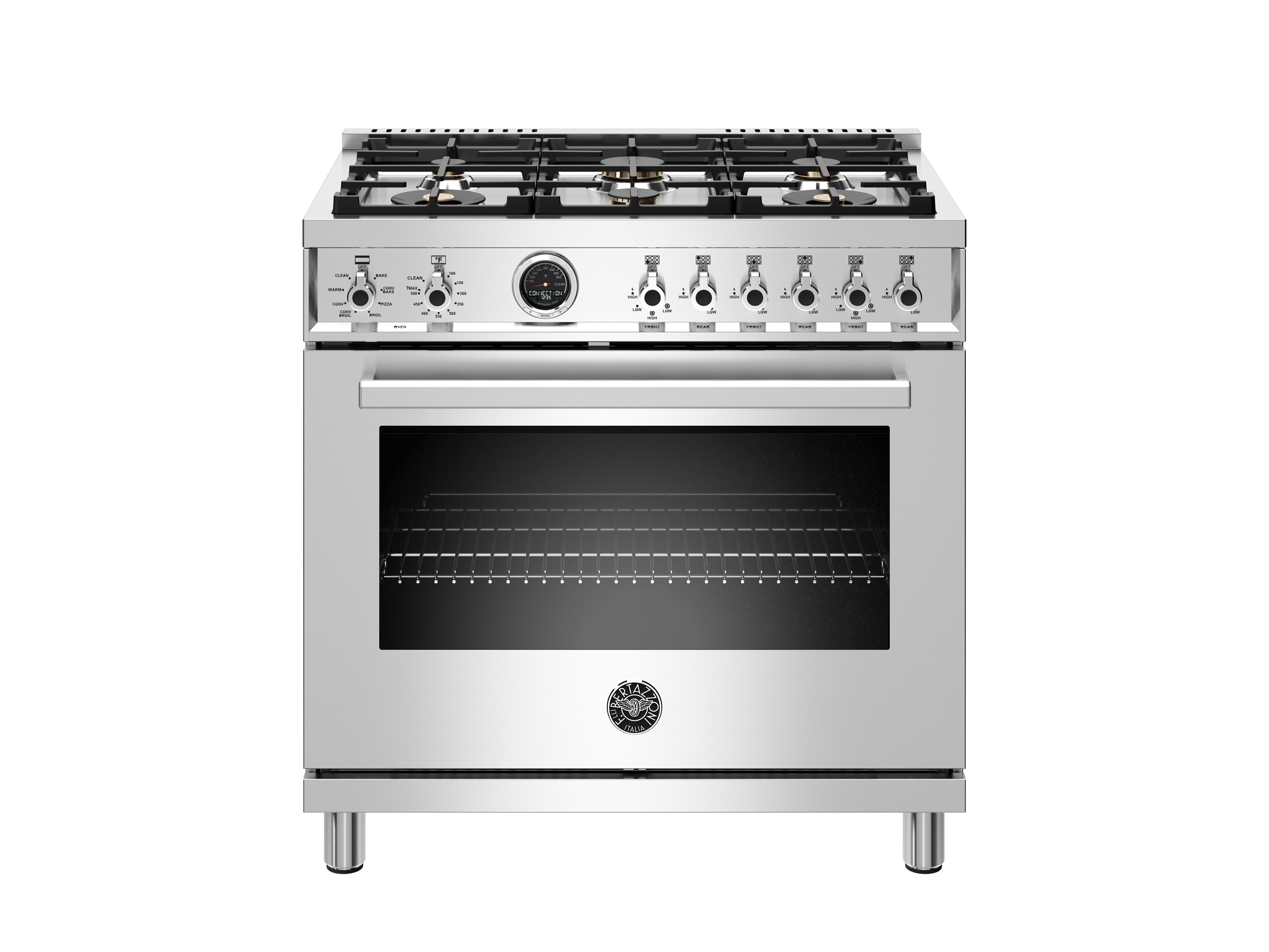 36 inch 6-Burner, Electric Self-Clean Oven | Bertazzoni - Stainless
