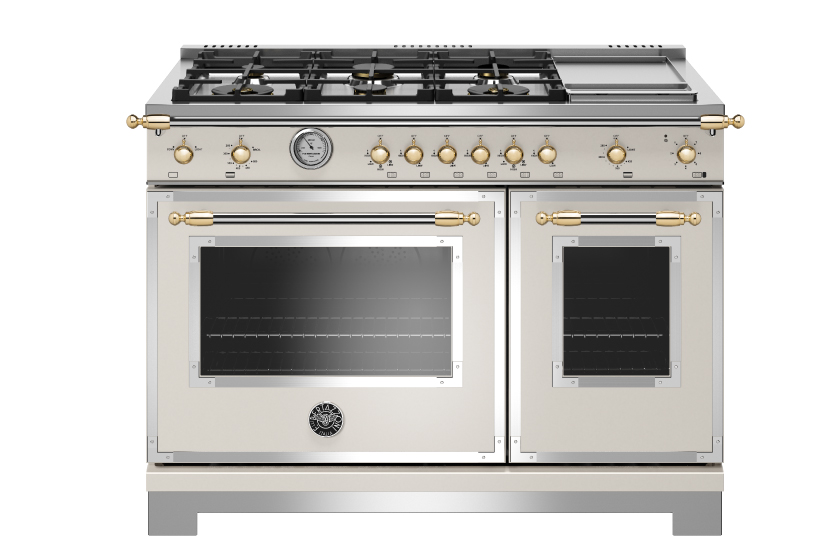 48 inch All Gas Range, 6 Brass Burner and Griddle | Bertazzoni - Avorio - Gold