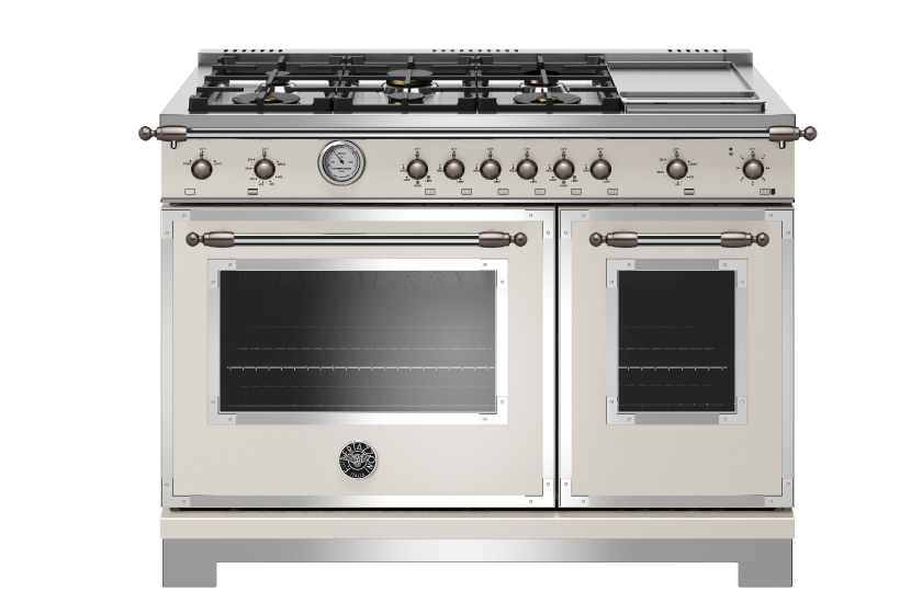 48 inch All Gas Range, 6 Brass Burner and Griddle | Bertazzoni - Avorio - Black Nickel