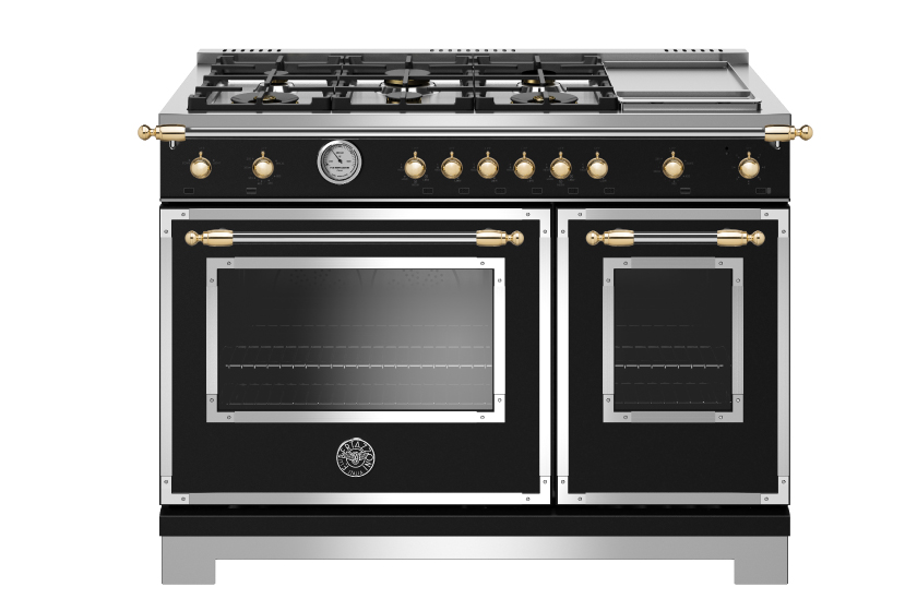48 inch All Gas Range, 6 Brass Burner and Griddle | Bertazzoni - Nero Matt - Gold