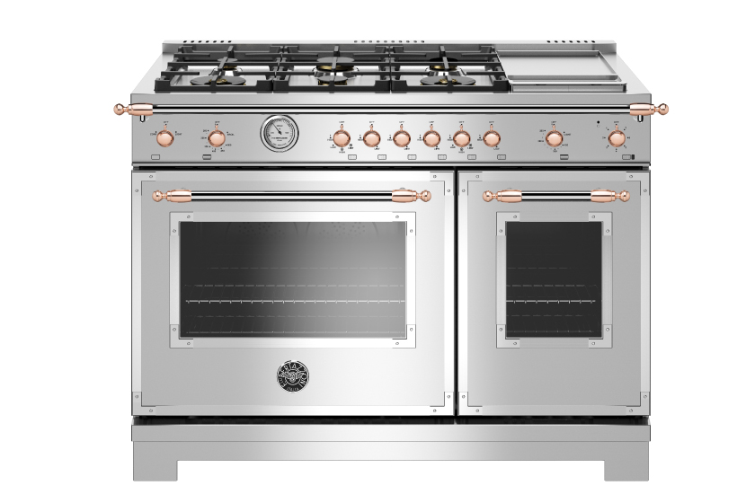 48 inch All Gas Range, 6 Brass Burner and Griddle | Bertazzoni - Stainless Steel - Copper