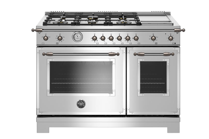 48 inch All Gas Range, 6 Brass Burner and Griddle | Bertazzoni - Stainless Steel - Black Nickel