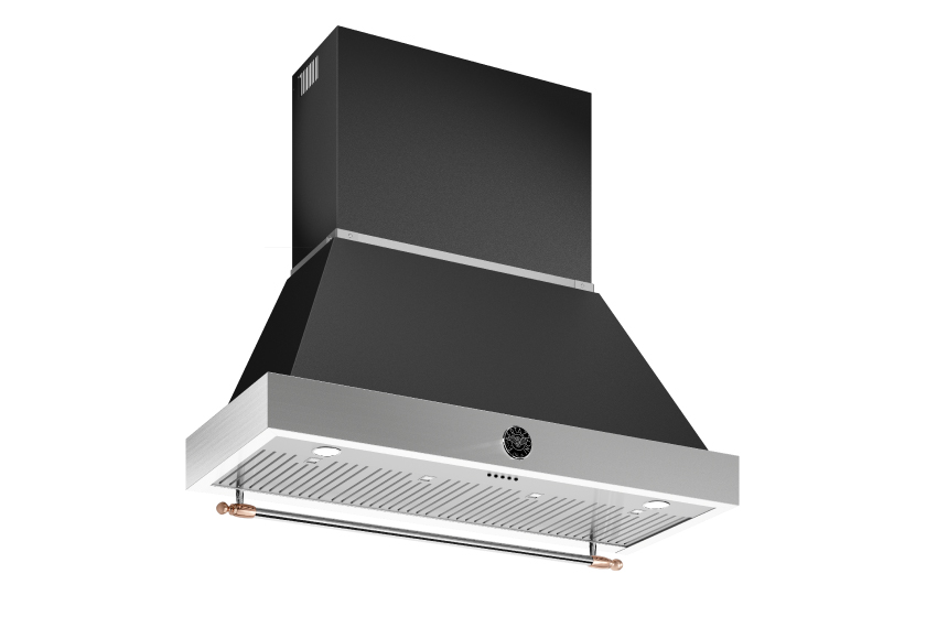 48 inch All Gas Range, 6 Brass Burner and Griddle | Bertazzoni - Nero Matt - Copper