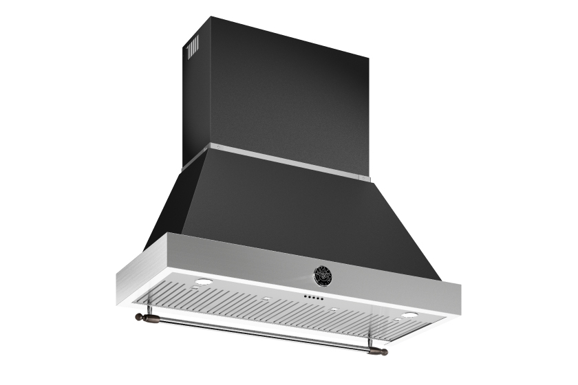 48 inch All Gas Range, 6 Brass Burner and Griddle | Bertazzoni - Nero Matt - Black Nickel