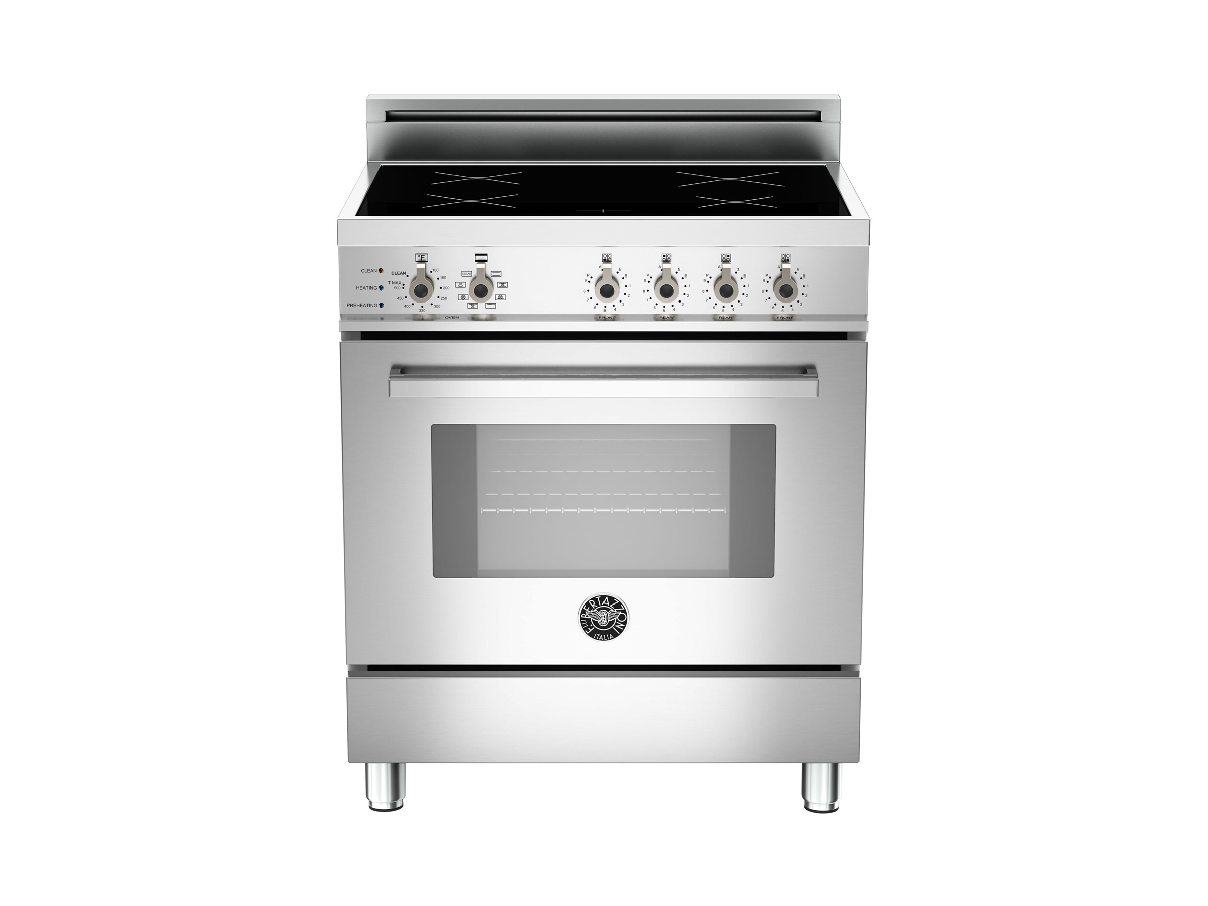 30 4-Induction Zones, Electric Self-Clean oven | Bertazzoni - Stainless